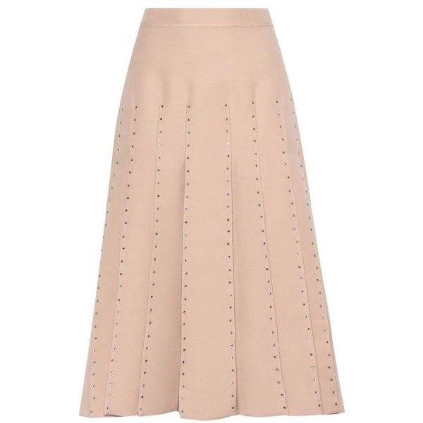 14295e5555 Valentino Embellished Wool and Silk Skirt (€4.510) ❤ liked on Polyvore  featuring skirts, neutrals, peach skirt, pink skirt, pink silk skirt,  woolen skirt ...
