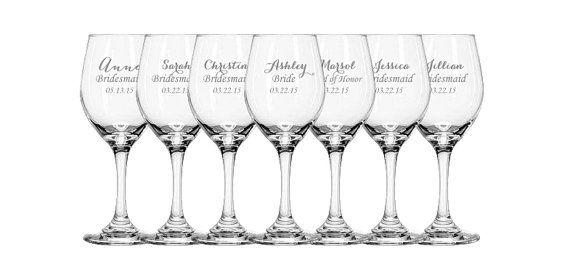 5 Laser Engraved Bridesmaid Wine Glasses, Gift for Bridesmaids, Personalized Wine Glasses on Etsy, $52.50