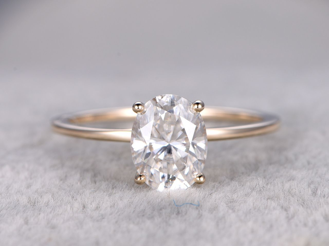 Xmm oval moissanite engagement ring k k yellow gold charles