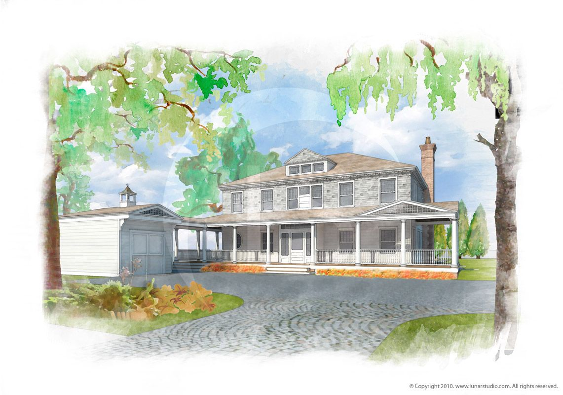 House Watercolor Painting. :: A watercolor painting based on 3D model.  Architect: