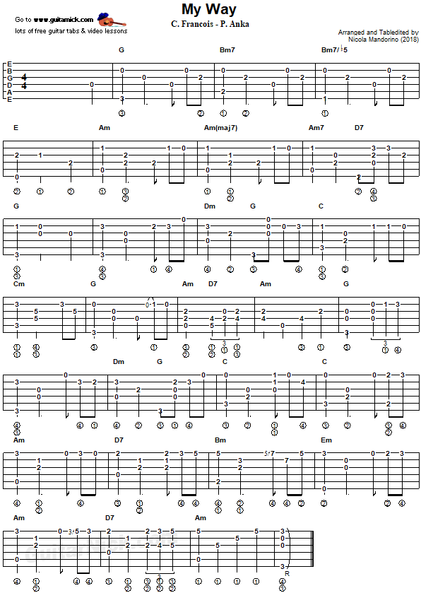 My Way Fingerstyle Guitar Tab