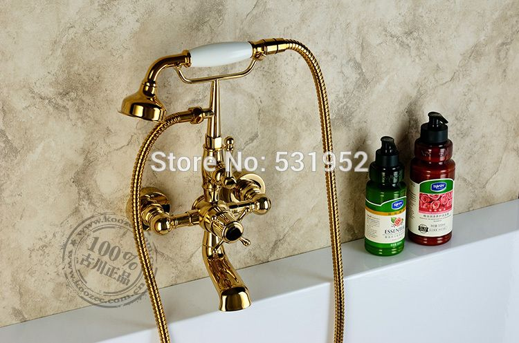 Free Shipping Wall Mounted Gold Plate Bathtub Faucet Double Handle Antique Brass Mixer Tap Bath Shower Shower Faucets Bathroom Shower Faucets Bathtub Faucet