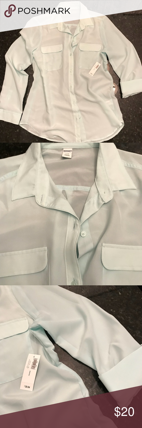 230b6157e89bf Sheer Mint Green Button Up I have a couple of these types of shirts because  I LOVE wearing them with a black lace bra Leyte and black jeans!