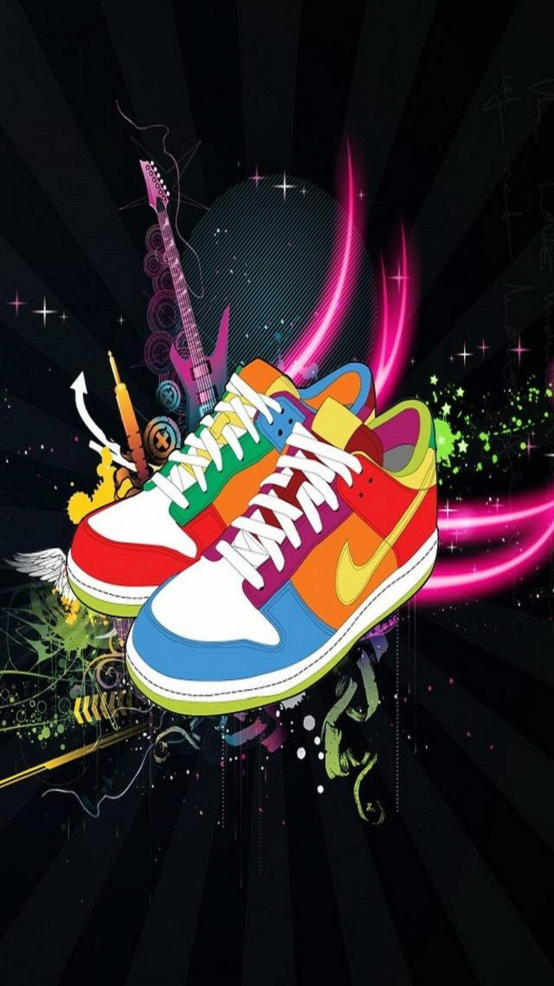 Tap And Get The Free App Art Multicolored Nike Shoes Black Cool Sneakers Hd Iphone 6 Plus Wallpaper Nike Wallpaper Nike Wallpaper Iphone Nike Free Shoes