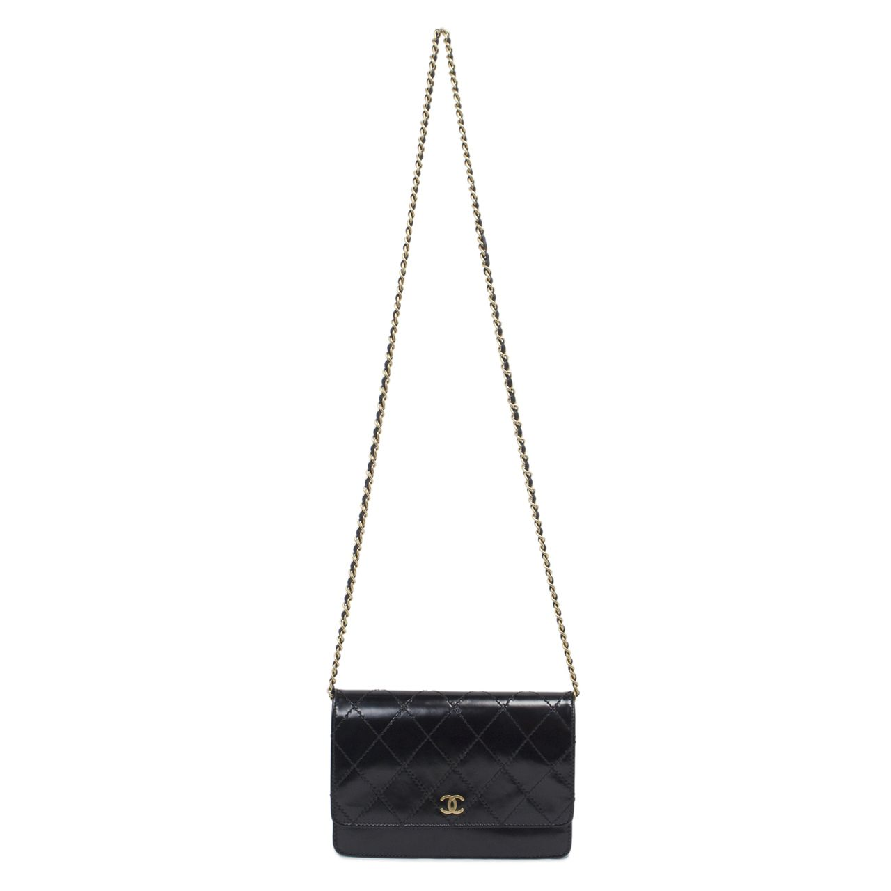 2f4cf0042c21 Chanel Black Smooth Leather Wallet On Chain WOC - modaselle | Chanel ...