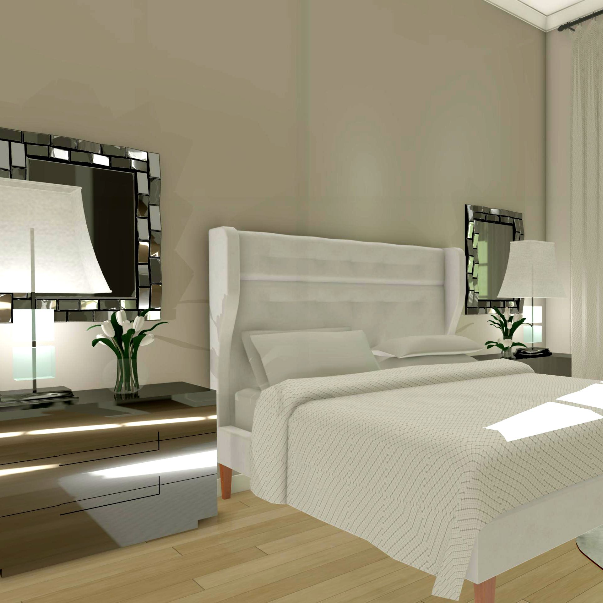 Physically Based Rendering Technique Of A Bedroom Created In Chief