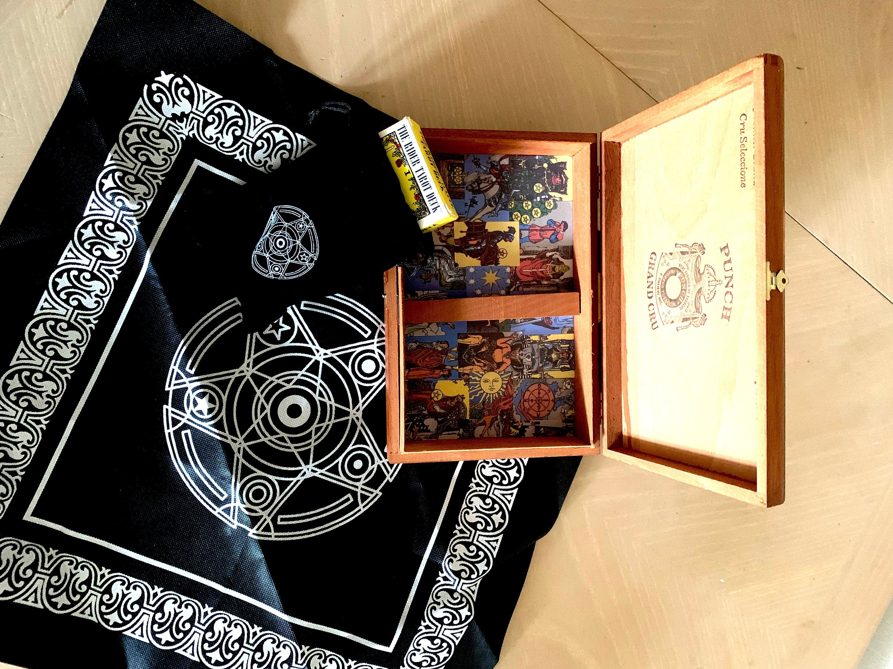 unique tarot box with rider deck and bag with free altar
