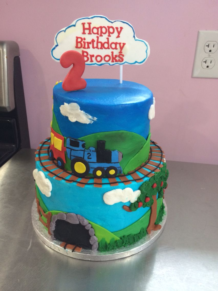 Train themed birthday cake for two year old boy Themed
