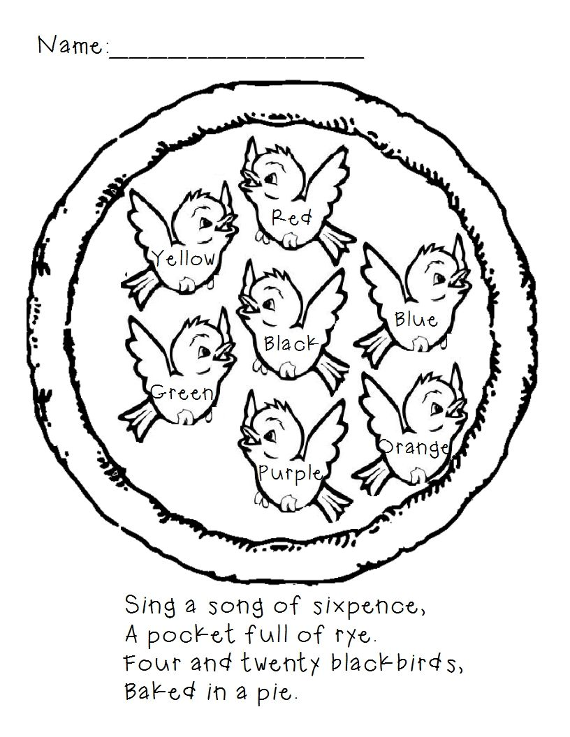 Sing A Song Of Sixpence Color By Word Page Preschool