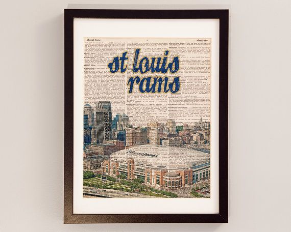 St. Louis Rams Dictionary Art Print - Edward Jones Dome - Print on Vintage Dictionary Paper - Saint Louis Skyline, Rams Football