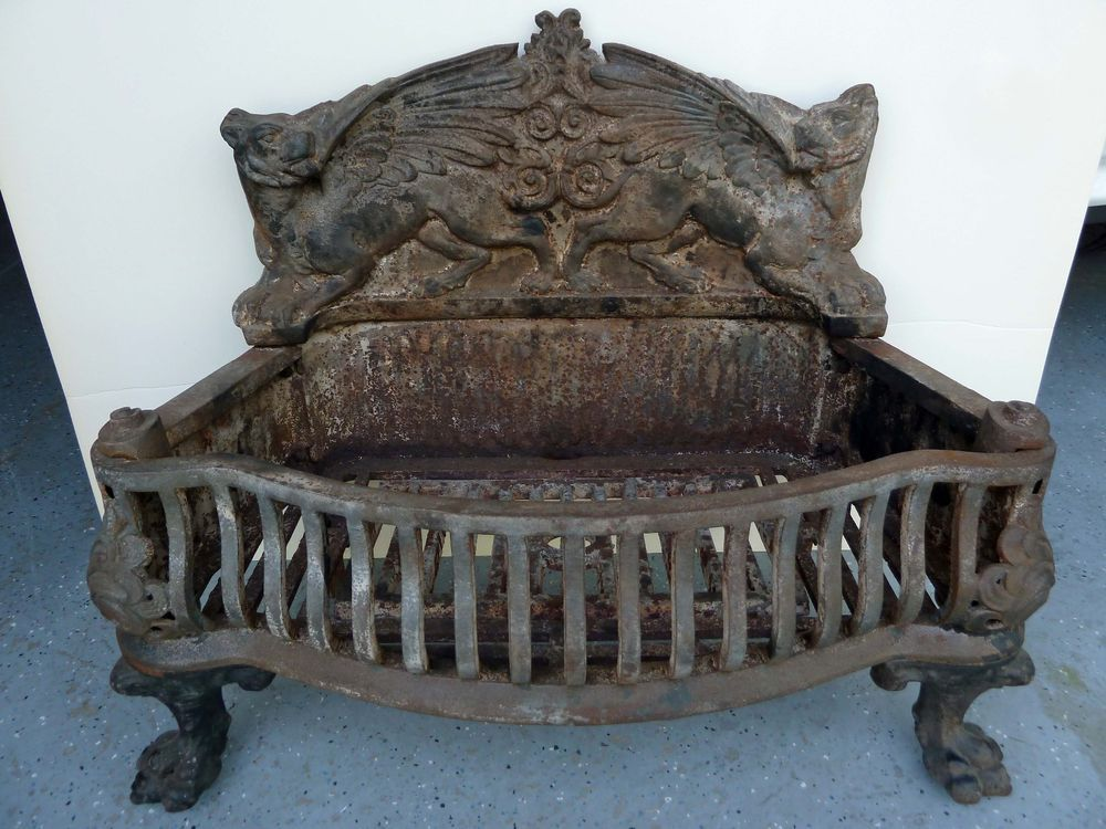 Fireplace cast iron log coal grate victorian antique