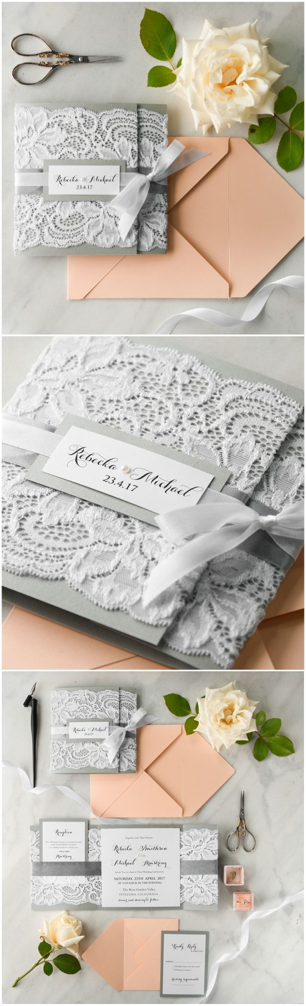 Peach & Grey Lace Wedding Invitations #romantic #lace #peach #grey #vintage #elegant #weddingideas #weddinginvitations