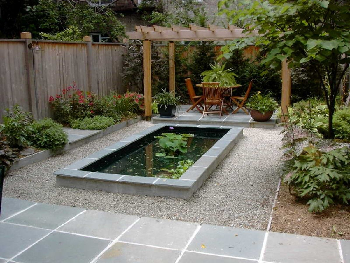 Garden With Cute Wood Pergola Idea Feat Modern Small Pond Design Plus Gravel And Big Potted Plants Fountains Backyard Small Backyard Ponds Ponds Backyard