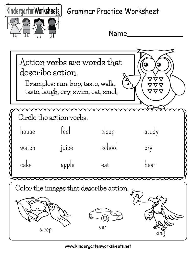 Action Verbs Worksheets For Kindergarten