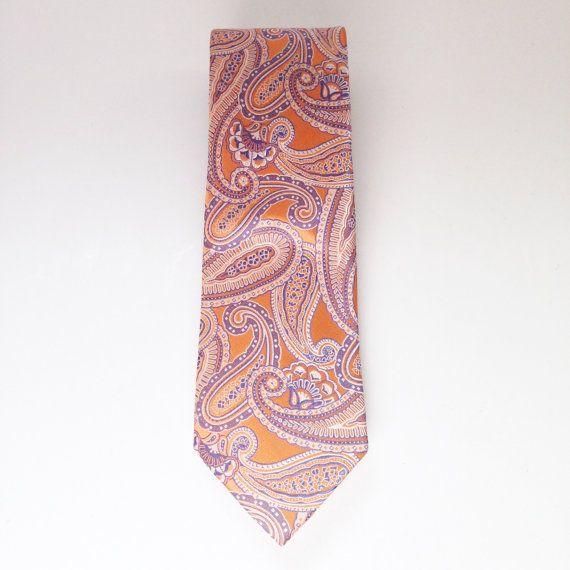 20f30784cf2f Vintage Michael Kors Silk Tie Orange Pink Blue Paisley Designer Neck ...