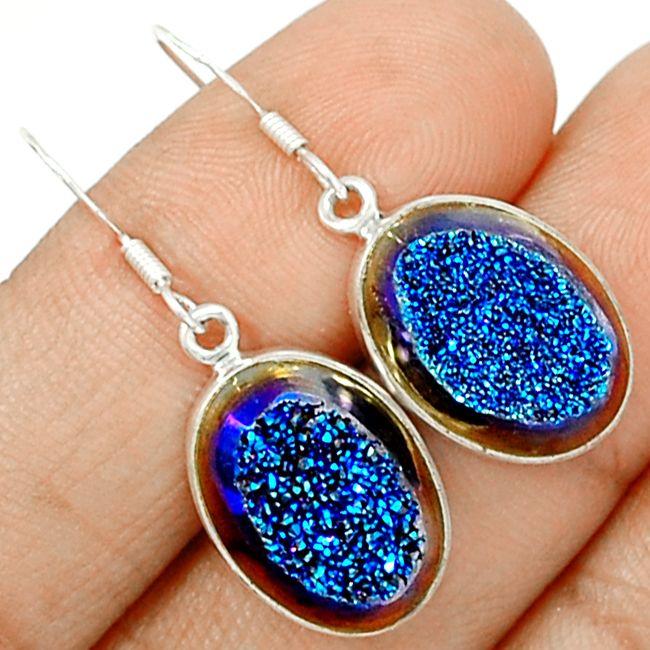 Titanium Druzy 925 Sterling Silver Earrings Jewelry TIDE300 - JJDesignerJewelry