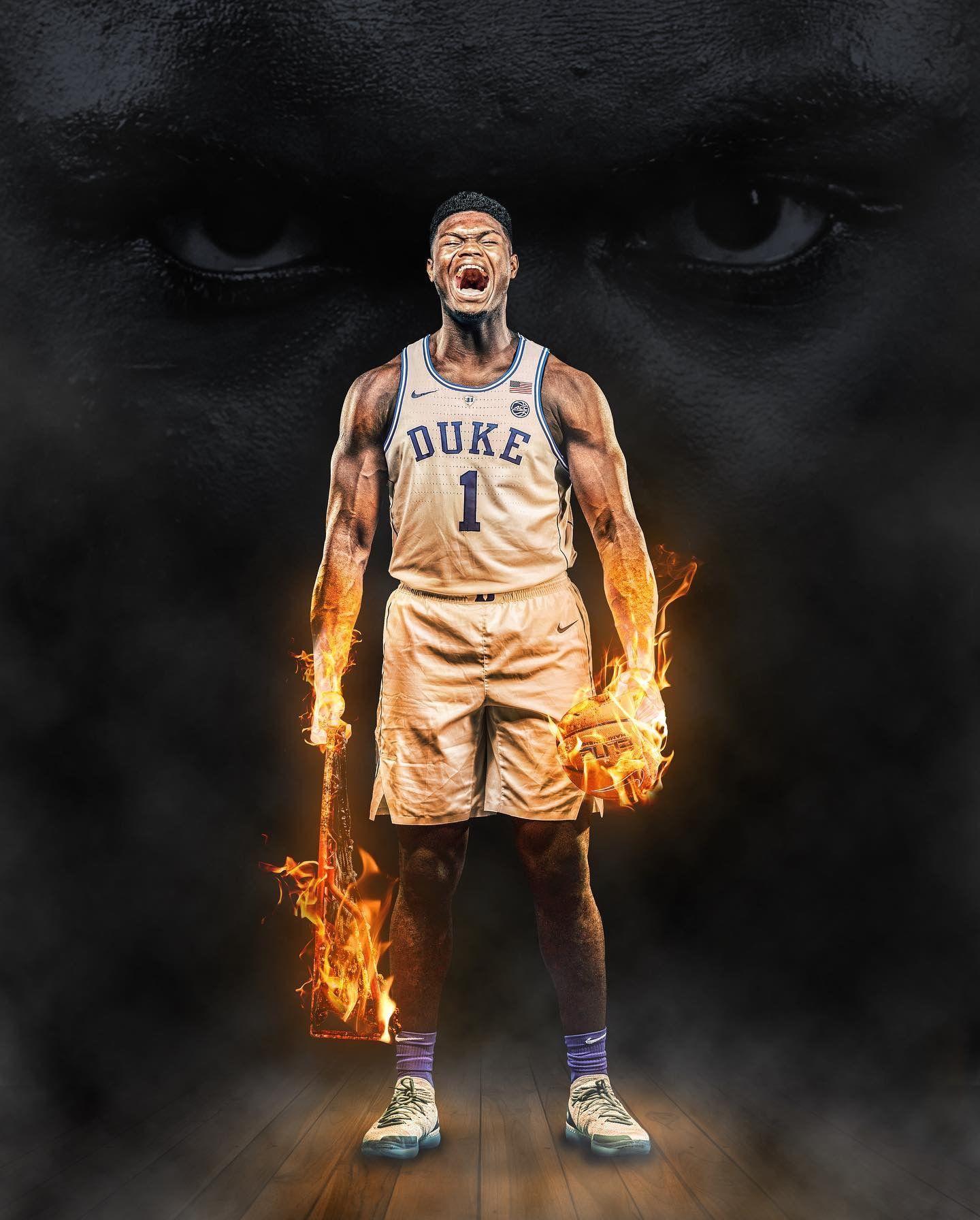 Zion Williamson Nba Basketball Art Duke Blue Devils Basketball Nba Mvp