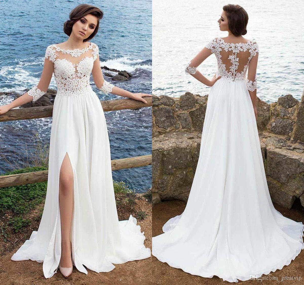 2018 Cheap Beach Wedding Dresses Bohemian Chiffon 34 Long Sleeves
