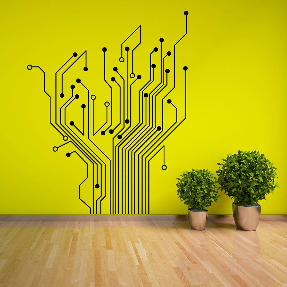 CIRCUIT TREE contempory wall art sticker decal | Circuits, Wall ...
