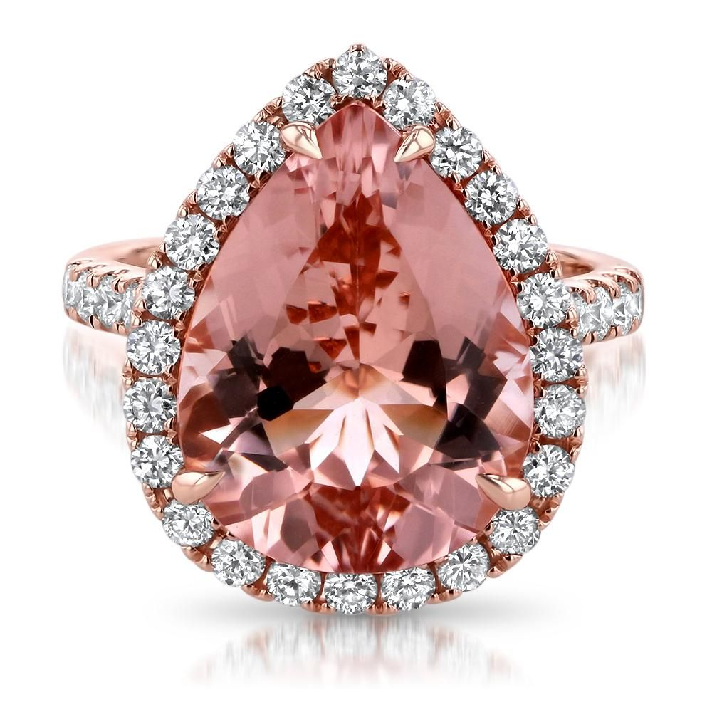 7.58ct Peach Pear Morganite Engagement Ring | МОРГАНИТЫ Morganite ...