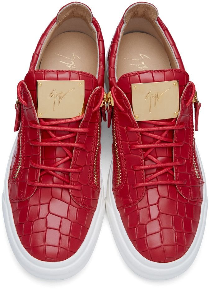 2a08eeecdc24 Giuseppe Zanotti - Red Croc-Embossed London Sneakers