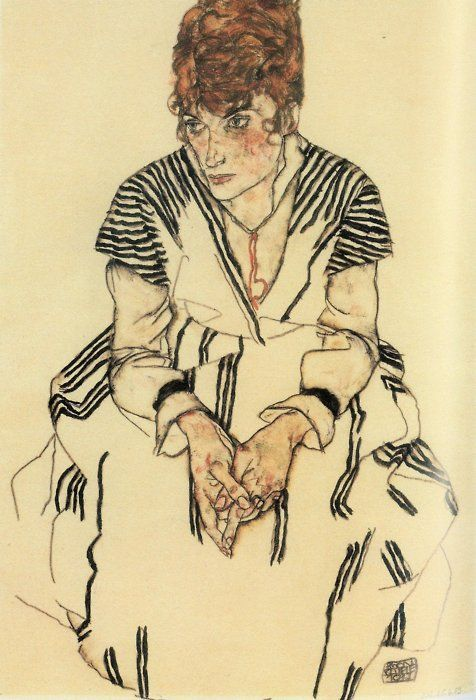 1917Egon Schiele (Austrian, 1890-1918) ~ Edith Schiele, Artist's Sister-In-Law, Seated