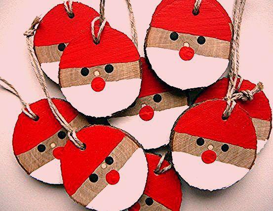 Santa Christmas Ornament 5 pcs., Christmas Rustic Ornament, Christmas Gift Tag, ... 1
