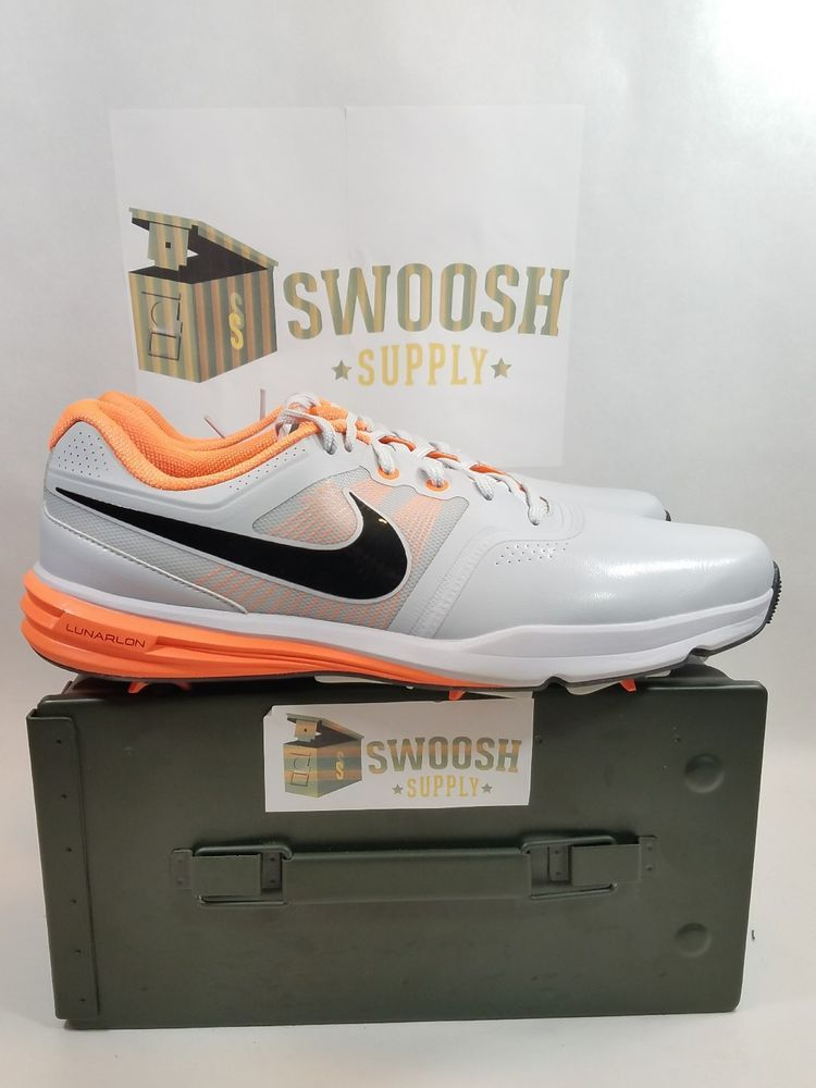 c4abceb2e048 NIKE Golf Lunar Command Men s Golf Shoes Sz 12 Platinum Black Orange 704427-003