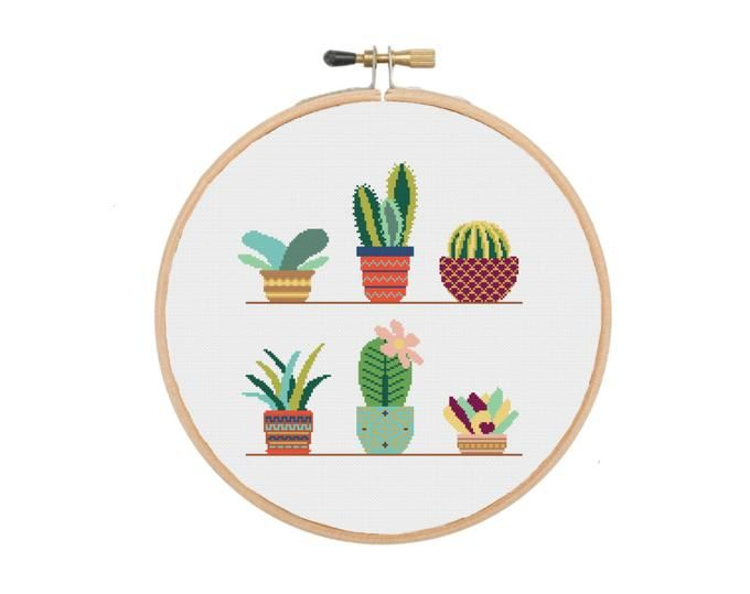 Photo of Floral Modern Cross Stitch Pattern, flower counted cross stitch chart, nature,  hoop embroidery, Instant download PDF
