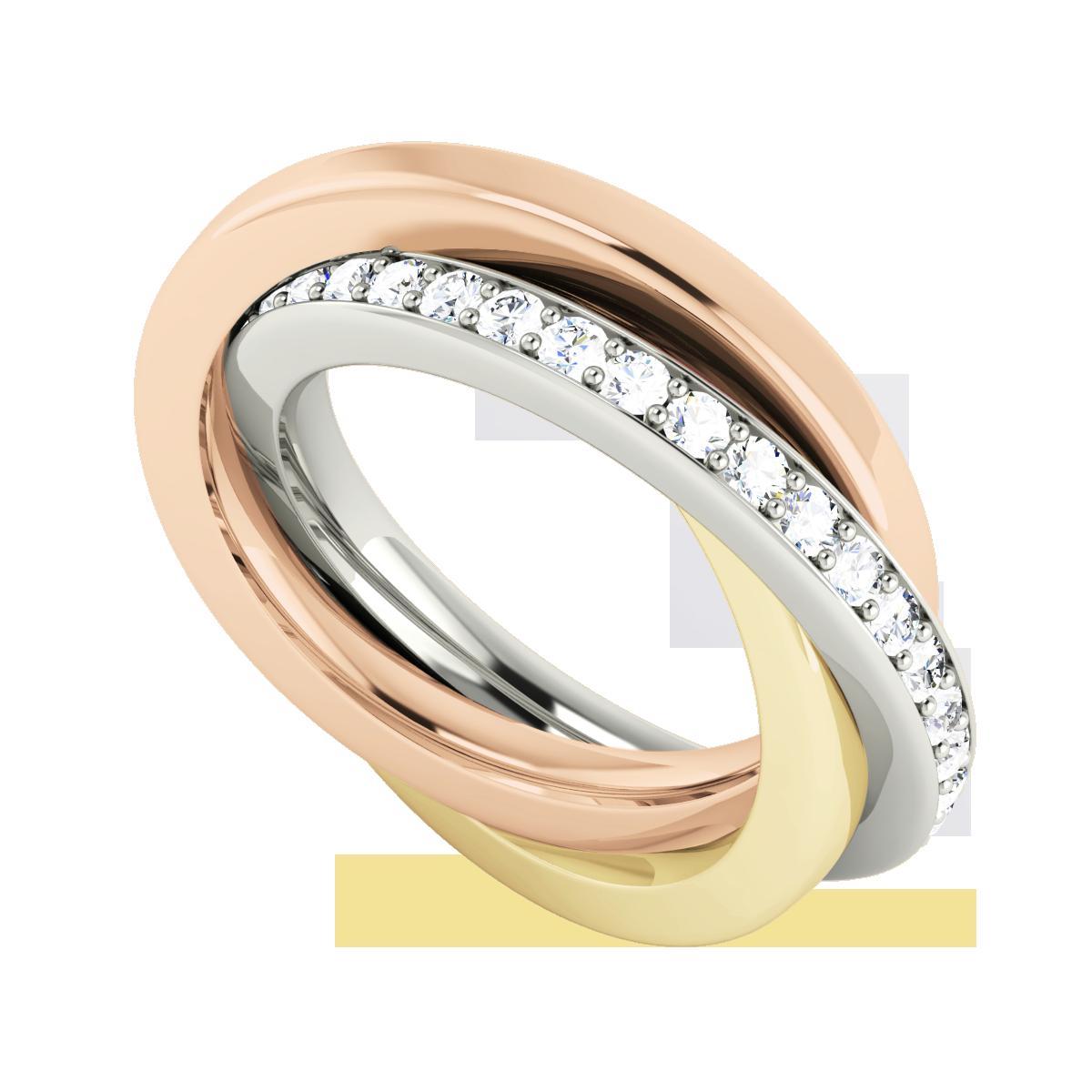 Diamond Russian Wedding Ring 9ct Multi Gold