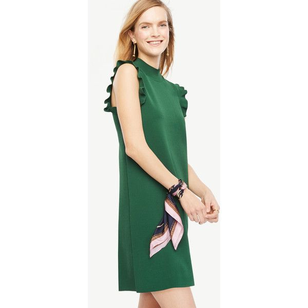 Ann Taylor Ruffle Sleeve Mock Neck Dress ($129) ❤ liked on Polyvore featuring dresses, green eden, green dress, polish dress, wetlook dress, green shift dress and green color dress