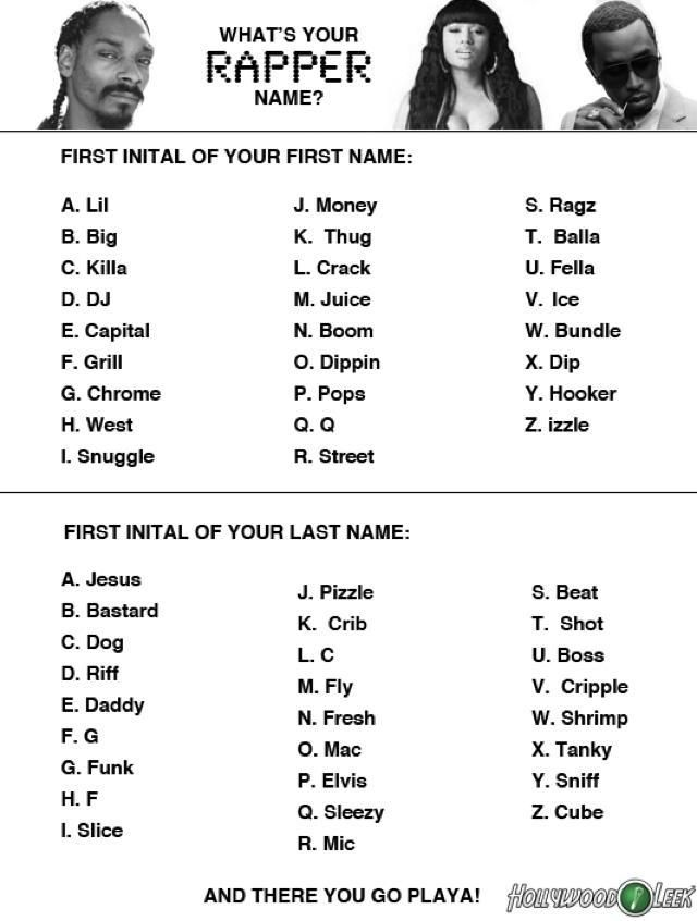 what s your name generator what s your rapper name music