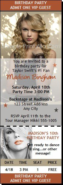 Nice Taylor Swift Birthday Party Invitations Download this