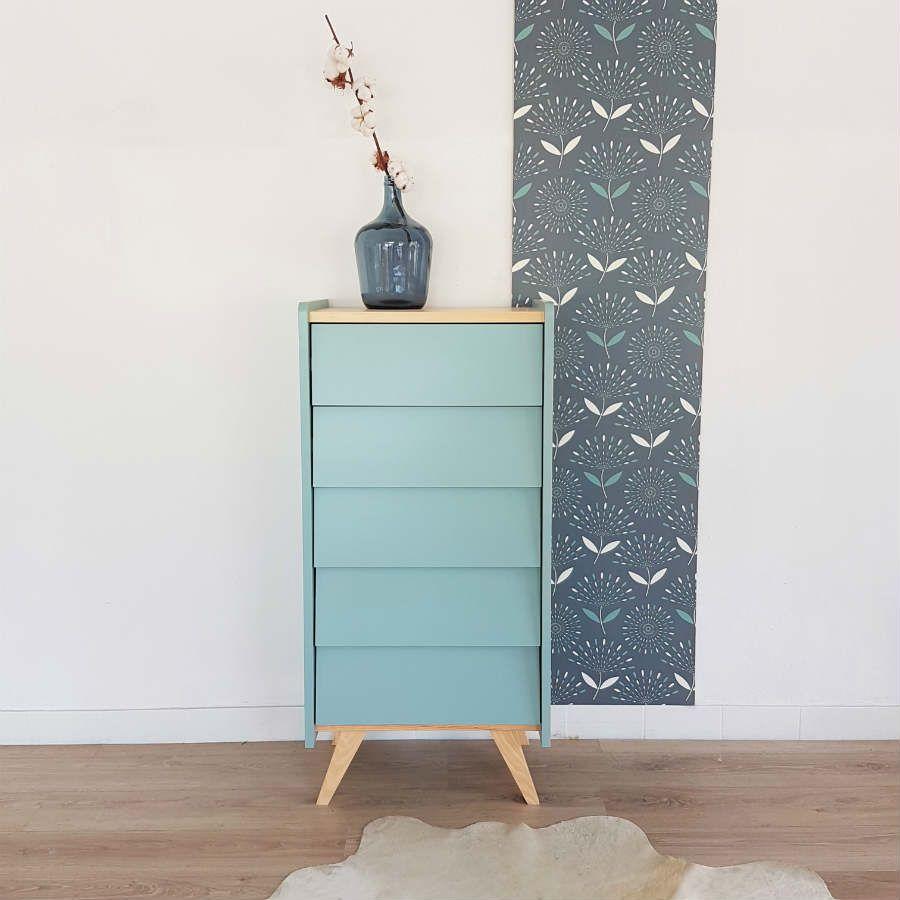 Commode Chiffonnier Pieds Compas Design Vintage Bleu Mod Le  # Commode Bas Exotique Wenge
