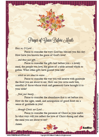 Thanksgiving Grace Thanksgiving Prayer Thanksgiving Prayer Catholic Prayers Before Meals