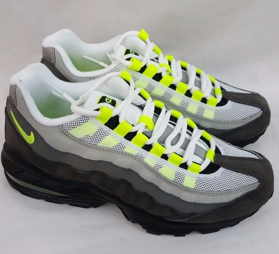 Nike Air Max 95 GS Leather Trainers Train Black Volt Grey 307565 077 Youth  6Y #