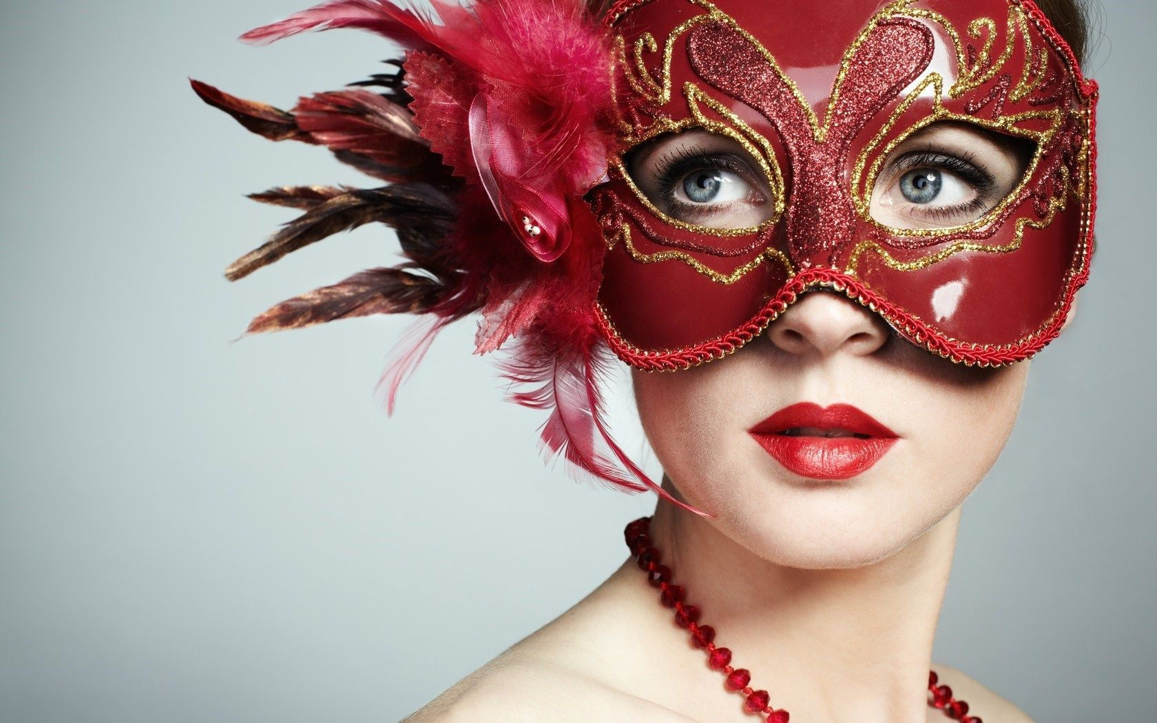 Girl Carnival Mask Red Lips Fashion Show Hd Wallpaper Red Mask