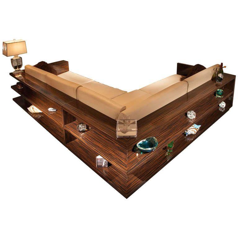 Gorgeous Sofa Sectional Of Macassar Ebony With Wrap Around Display Shelves