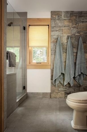 Rustic Full Bathroom With Frameless Showerdoor Concrete