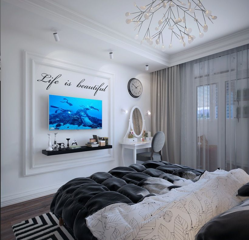 Elegant Simple Apartment Design with Cool Black and White Decoration: Blue Wall Decorating Ideas In White Color Schemed Bedroom In Striking Ukrainian Apartment