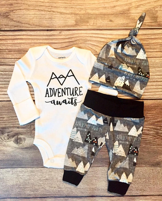 Photo of Charcoal Adventure Awaits Newborn Boy Coming Home Outfit, Newborn Outfit, Baby Boy Outfit, Boy Outfit, Going Home Outfit