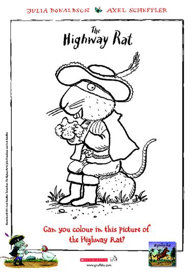 colour in this fun picture of the highway rat - Gruffalo Colouring Pages To Print