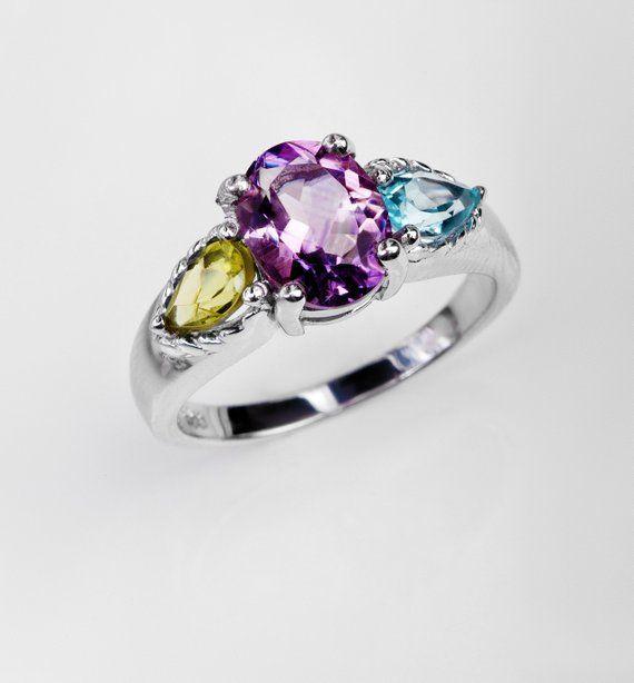 Amethyst topaz peridot ring for women, silver purple gemstone