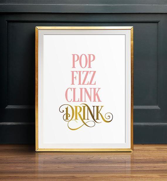 Printable Bar Signs Pop Fizz Clink Drink Printable Art Etsy Printable Bar Sign Bar Signs Pop Fizz Clink