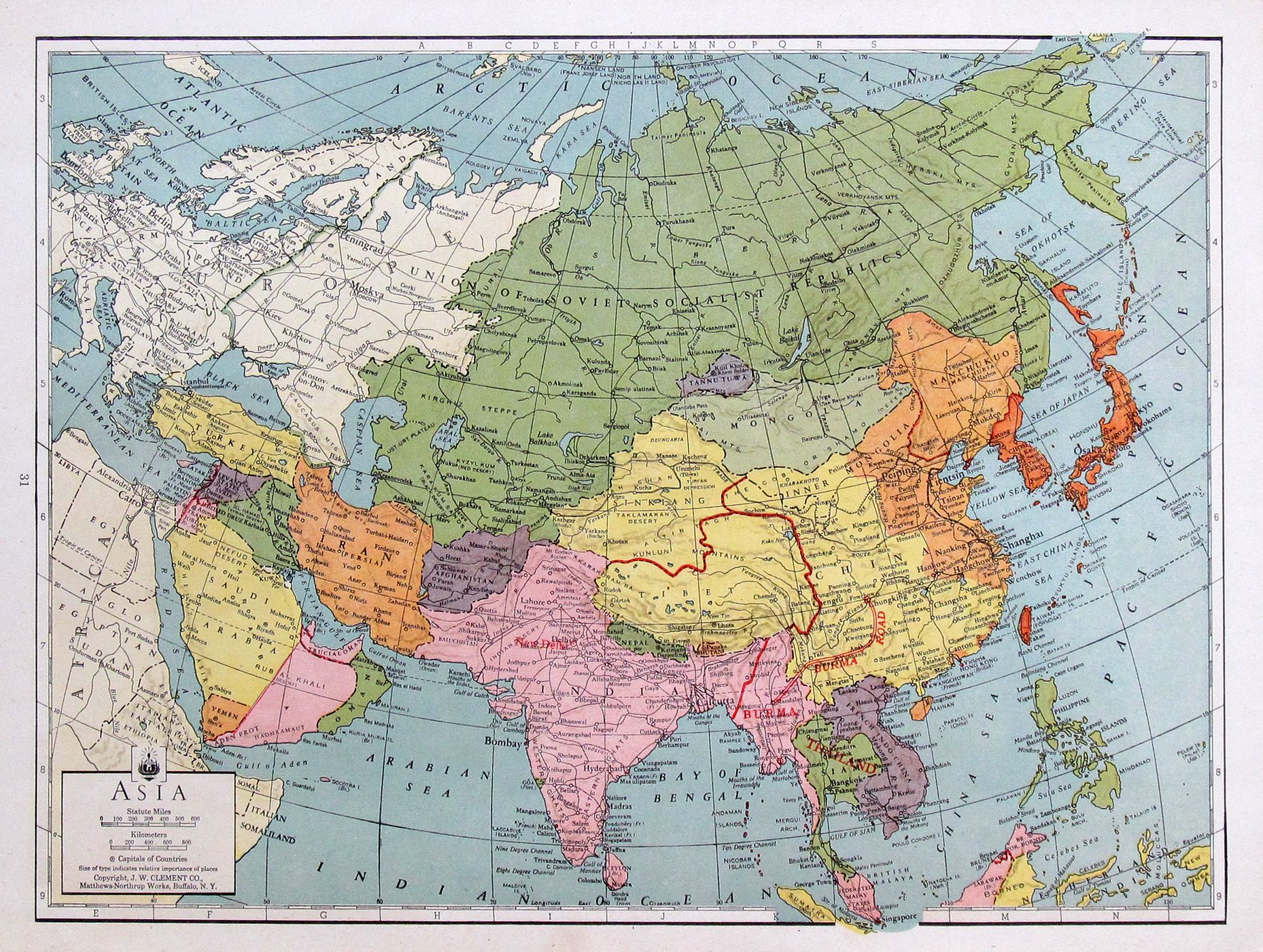Map Of Asia During Wwii.Asia During Wwii 1943 Vintage Map Available For Framing Wwii