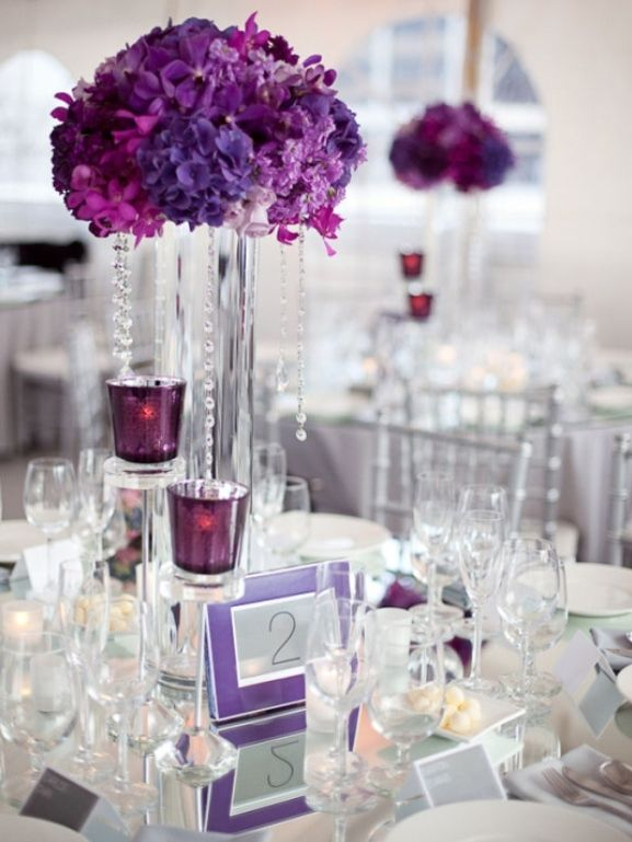 Floral Purple And Silver Wedding Centerpiece With Candles Party