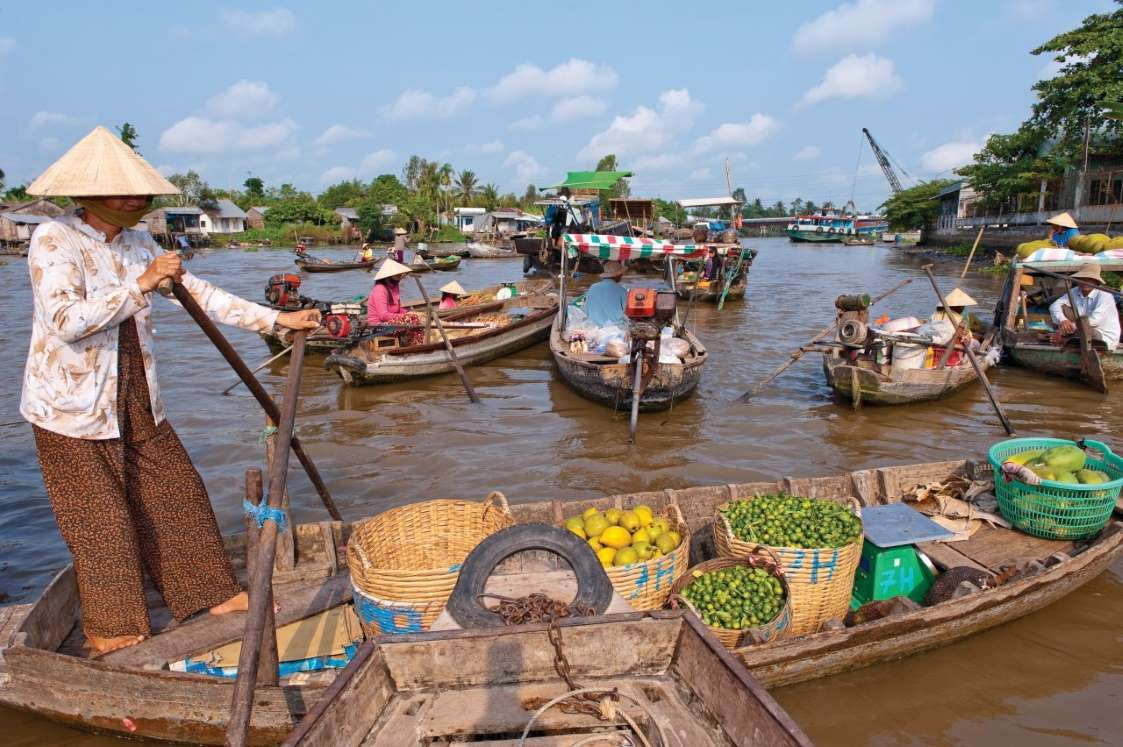 Marché flottant du Cai Rang, sur le Mekong.