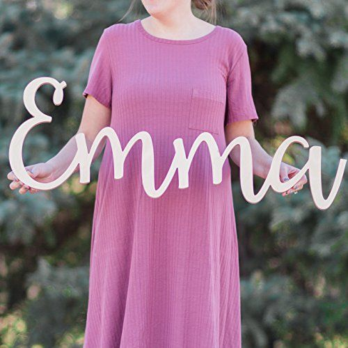 """Handmade Custom Personalized Wooden Name Sign 8-24"""" tall - Emma Font Letters Baby Name Plaque PAINTED nursery name nursery decor wooden wall art, above a crib"""