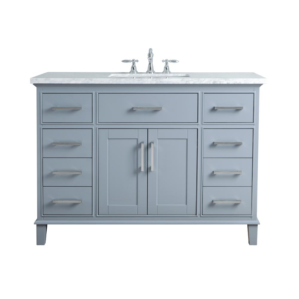 Stufurhome 48 In Leigh Single Sink Bathroom Vanity In Grey With Carrara Marble Vanity Top In White With White Basin Hd 1475g 48 Cr The Home Depot Single Sink Bathroom Vanity Bathroom Vanity Beautiful