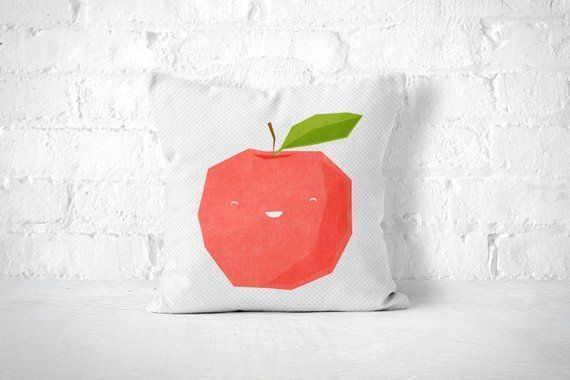 Apple Throw Pillow Kawaii Pillow Cute Throw Pillow Fruit Throw Pillow Kids Room ...  Apple Throw Pi
